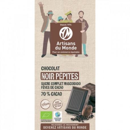 Chocolat noir bio 70% pépites