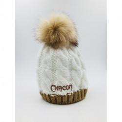 Bonnet Chacom Blanc Pompon Fourrure