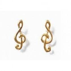 boucles d'oreilles clé de sol plaqué or