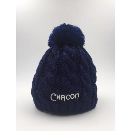 Bonnet Chacom Pompon Bleu Nuit