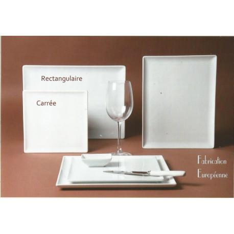 (PORCELAINE) ASSIETTE MALACCA CARREE porcelaine blanche