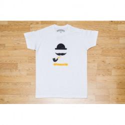 T-shirt Chacom Moustache Blanc Chiné Homme