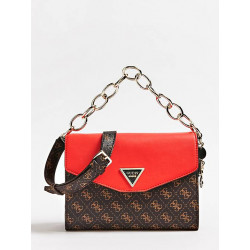 Sac bandoulière - Guess - Marron/Rouge