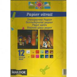 (PAPIER) PAPIER VITRAIL 12 feuilles